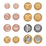 Modern Belarusissian coins. Vector reverse and obverse. Belarussian money. Kopeyka and rouble. Stock Image