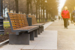 Modern bench in an alley in moscow city Royalty Free Stock Photography