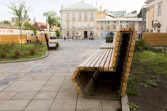 Modern bench in the recreation park. In Lviv Stock Photo