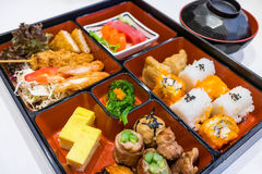 Modern of Bento set served with a bowl of miso soup Royalty Free Stock Image