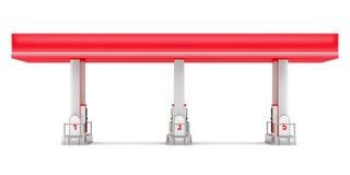 Modern benzinestation op wit Stock Afbeeldingen