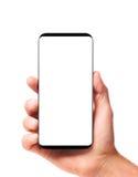 Modern bezelless smartphone in hand Stock Image