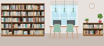 Modern bibliotheek leeg binnenland met boekenkast, lijst, stoelen en computers vector illustratie