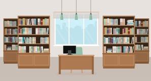 Modern bibliotheek leeg binnenland met boekenkasten, lijst, stoel en computers Vector Illustratie