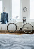 Modern bicycle and denim shirt Stock Images