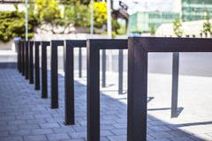 Modern bicycle rack. Modern empty square tube bicycle rack in city Eger Hungary Stock Photo
