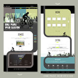 Modern bicycle sport one page website design Stock Image