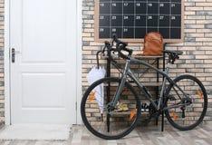 Modern bicycle in stylish hallway stock photos