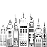 Modern Big City. With Buildings and Skyscraper, Architecture Megapolis, City Financial Center on a Light Background ,Black and White Vector Illustration Royalty Free Stock Photography