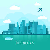 Modern big city landscape with reflection in water Stock Photos