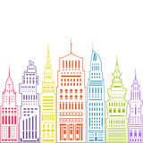 Modern Big City , Linear Style Royalty Free Stock Image