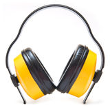 Modern big headphones isolated on white Royalty Free Stock Photography