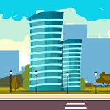 Modern big hight skyscrapers town. Vector illustration Royalty Free Stock Image