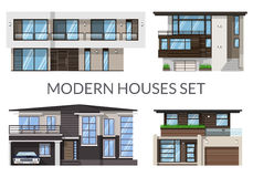 Modern big houses set, real estate signs in flat style. Vector illustration Royalty Free Stock Image