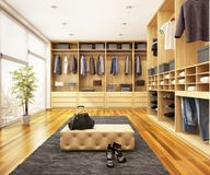 Modern dressing room in a big house. Modern big wardrobe in a big house stock illustration