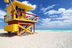 Modern bike & lifeguard station in Miami Beach Stock Images