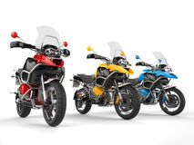 Modern bikes with windshields - primary colors Royalty Free Stock Image