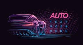 Modern bilillustration för neon vektor royaltyfri illustrationer