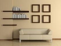 Modern binnenland met bank, boekenplanken. 3D. Stock Afbeeldingen