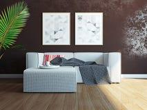 Modern binnenland met bank het 3d teruggeven Stock Afbeeldingen