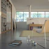 Modern Binnenland met boeken Stock Foto's