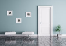 Modern binnenland met deur en zetels Stock Fotografie