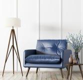 Modern binnenland met leunstoel en koffietafel het 3d teruggeven royalty-vrije illustratie