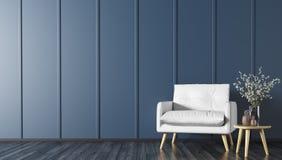 Modern binnenland met leunstoel en koffietafel het 3d teruggeven vector illustratie