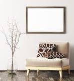 Modern binnenland met leunstoel, vaas en spot op kader 3d renderin vector illustratie