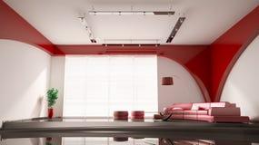 Modern binnenland met rode 3d bank Royalty-vrije Stock Afbeelding