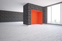 Modern binnenland met rode hoek Royalty-vrije Stock Fotografie