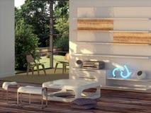 Modern binnenland met stereo-installatie Stock Afbeeldingen