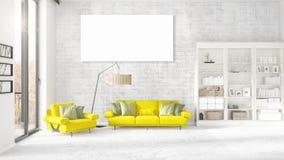 Modern binnenland in mode met gele laag, verticaal leeg kader en copyspace in horizontale regeling het 3d teruggeven Royalty-vrije Stock Foto