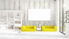 Modern binnenland in mode met gele laag, verticaal leeg kader en copyspace in horizontale regeling het 3d teruggeven Stock Fotografie