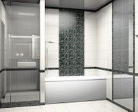 Modern binnenland van een 3D badkamers stock illustratie