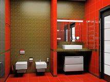 Modern binnenland van een 3D badkamers royalty-vrije illustratie