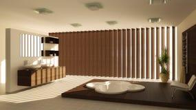 Modern binnenland van een badkamers Stock Foto's