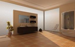 Modern binnenland van een badkamers Stock Fotografie