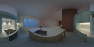 Modern binnenland van een buitenhuis Avondverlichting Panorama 360 Royalty-vrije Stock Foto