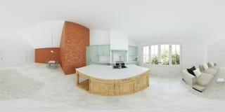 Modern binnenland van een buitenhuis Lichtgroene keuken Panorama 360 Stock Afbeelding