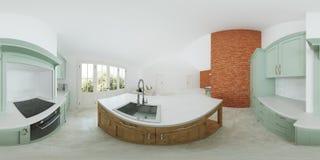 Modern binnenland van een buitenhuis Lichtgroene keuken Panorama 360 Royalty-vrije Stock Fotografie