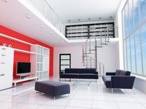 Modern binnenland van een ruimte stock afbeeldingen