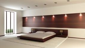 Modern binnenland van een slaapkamer Stock Afbeelding