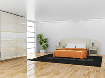 Modern binnenland van een slaapkamer Royalty-vrije Stock Foto's