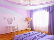 Modern binnenland van een slaapkamer stock illustratie