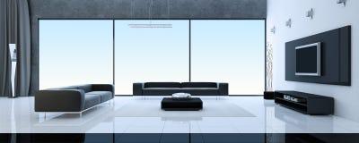 Modern binnenland van een woonkamer royalty-vrije illustratie