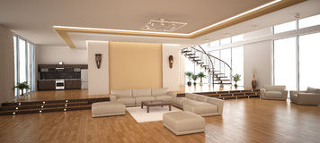 Modern binnenland van een woonkamer Stock Fotografie