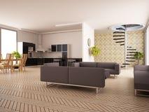 Modern binnenland van een woonkamer Stock Foto