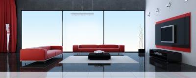 Modern binnenland van een woonkamer met rode banken Stock Foto