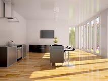 Modern binnenland van keuken. Stock Afbeeldingen